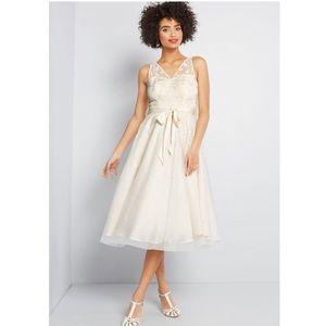 ModCloth Ivory Midi Dress